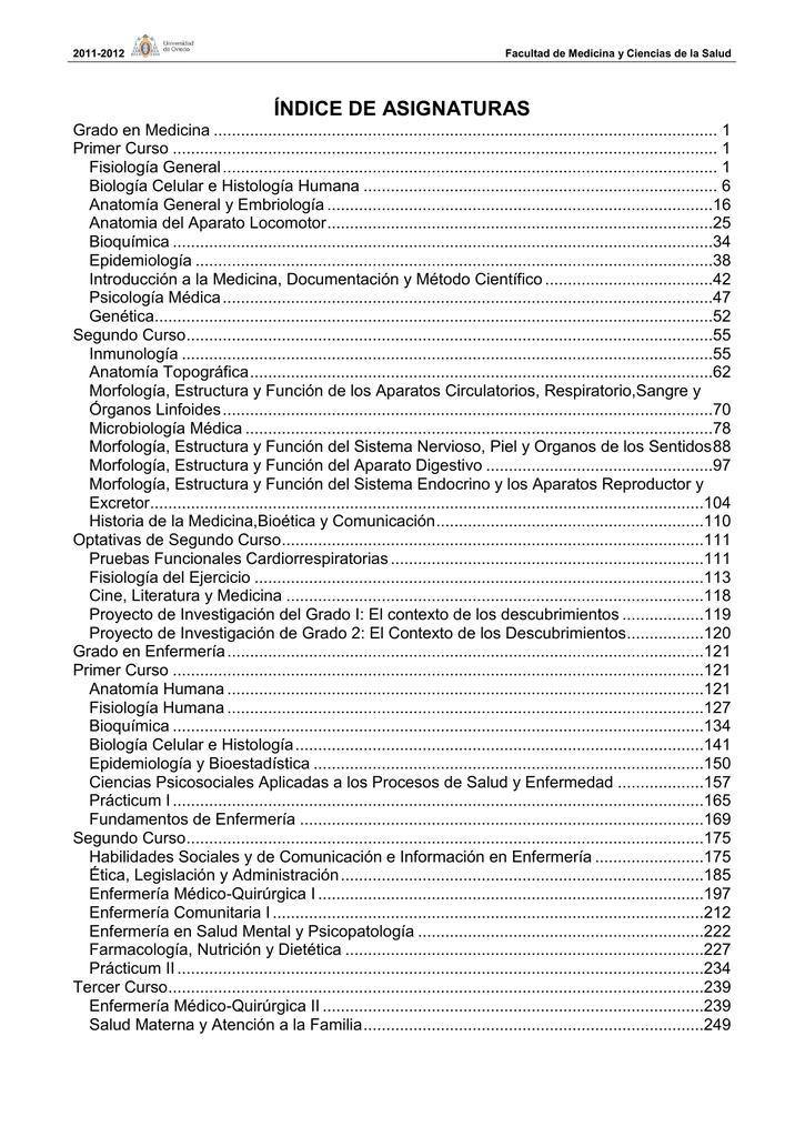 índice de asignaturas - Universidad de Oviedo