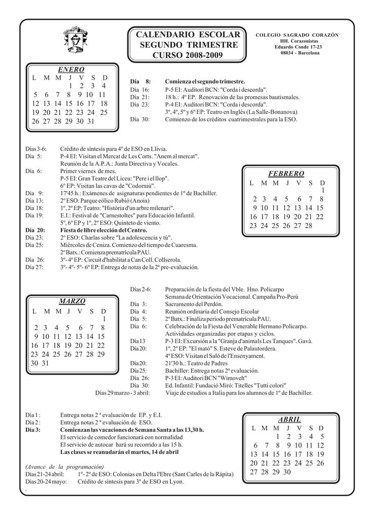 Calendario Escolar Barcelona.Calendario Escolar Segundo Trimestre Curso 2008 2009