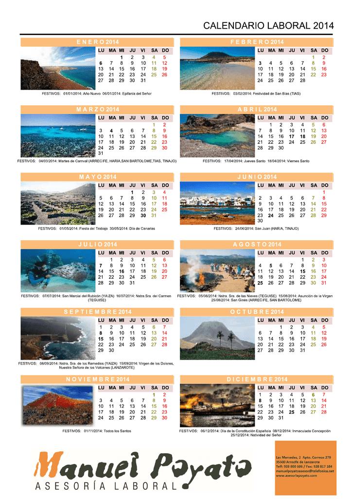 Abre Mi Calendario.Calendario Laboral 2014 Asesoria Poyato Lanzarote