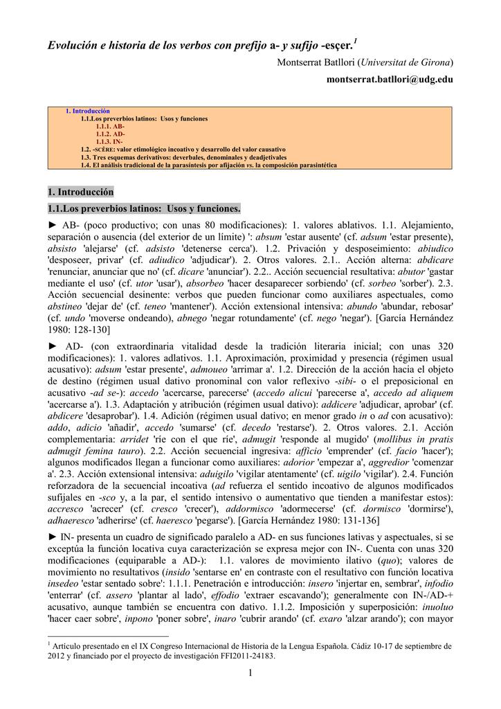 Evolución e historia de los verbos con prefijo a- y sufijo