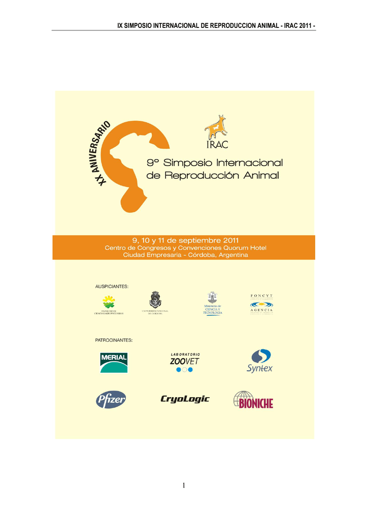 ix simposio internacional de reproduccion animal - IRAC