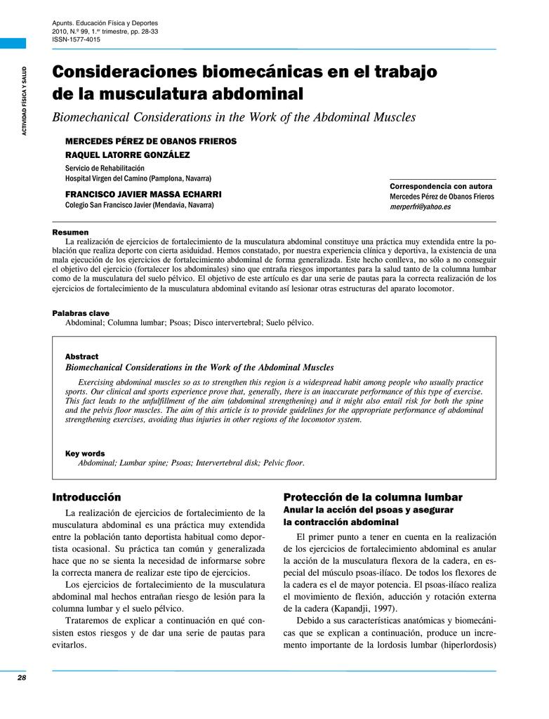 Consideraciones biomecánicas en el trabajo de la musculatura