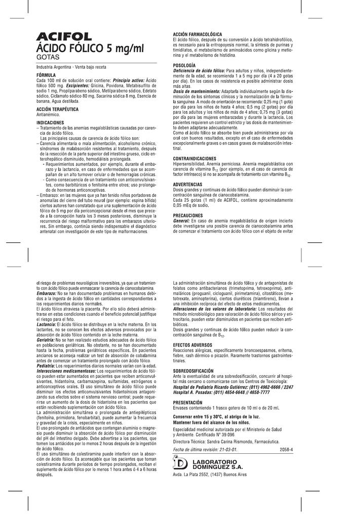 efectos adversos de acido folico
