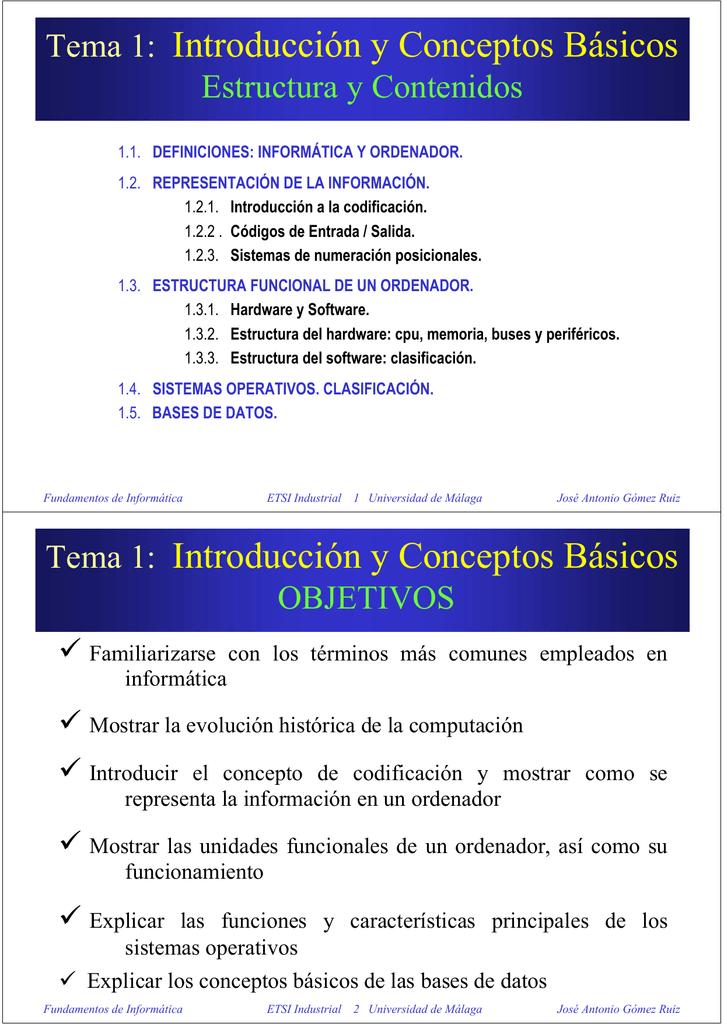 Tema 1 Introducción Y Conceptos Básicos Tema 1 Introducción Y