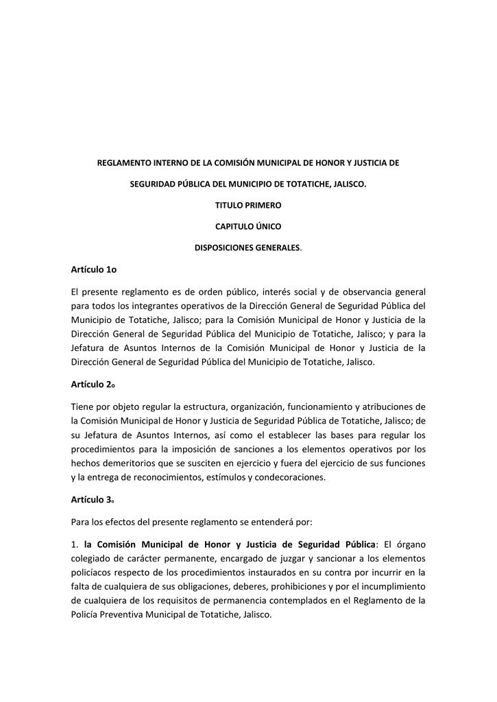 Artículo 1o El Presente Reglamento Es De Orden Público Interés