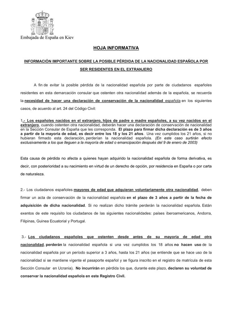conservación de la nacionalidad española