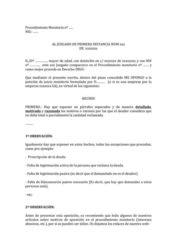 PLANTILLA de oposición al juicio monitorio