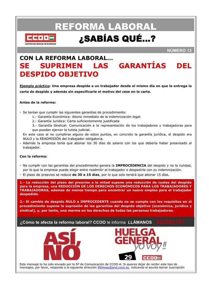 Con La Reforma Laboral Se Suprimen Las Garantías Del Despido