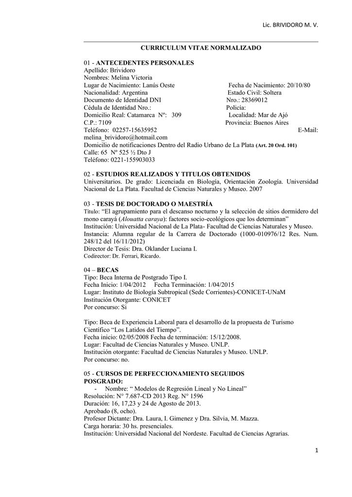 Lic Brividoro M V 1 Curriculum Vitae Normalizado 01