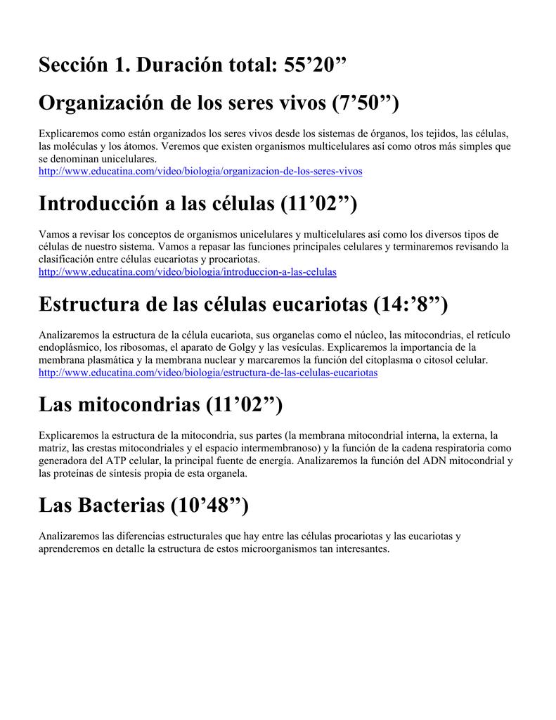 Sección 1 Duración Total 55 20 Organización De Los Seres
