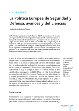 La Política Europea de Seguridad y Defensa: avances y