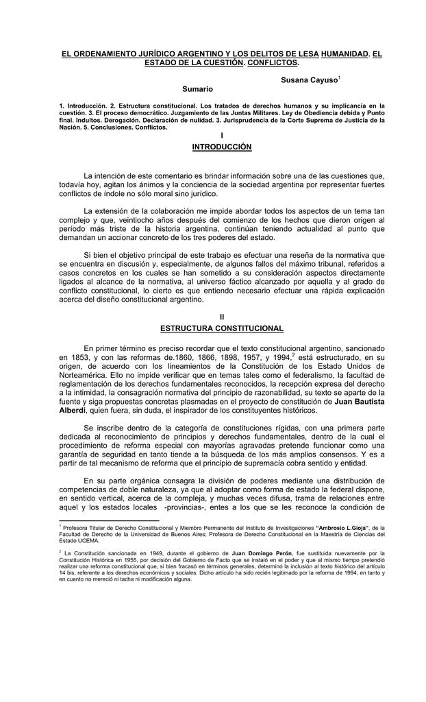 El Ordenamiento Jurídico Argentino Y Los Delitos De