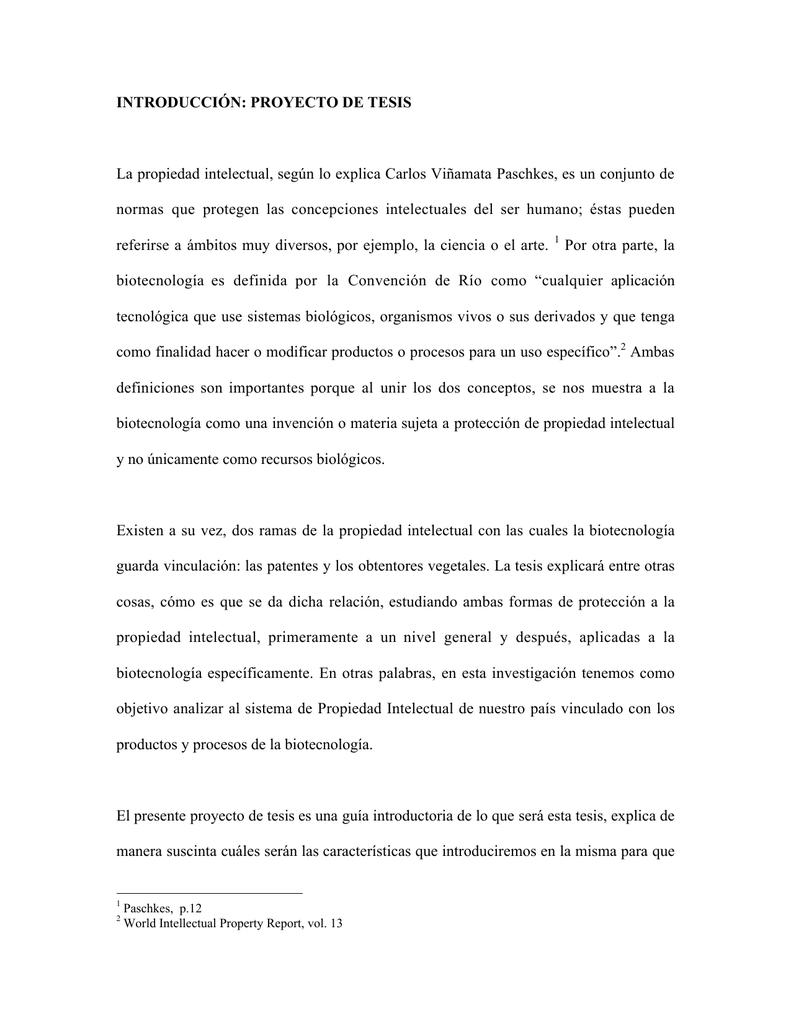 INTRODUCCIÓN PROYECTO DE TESIS La propiedad intelectual