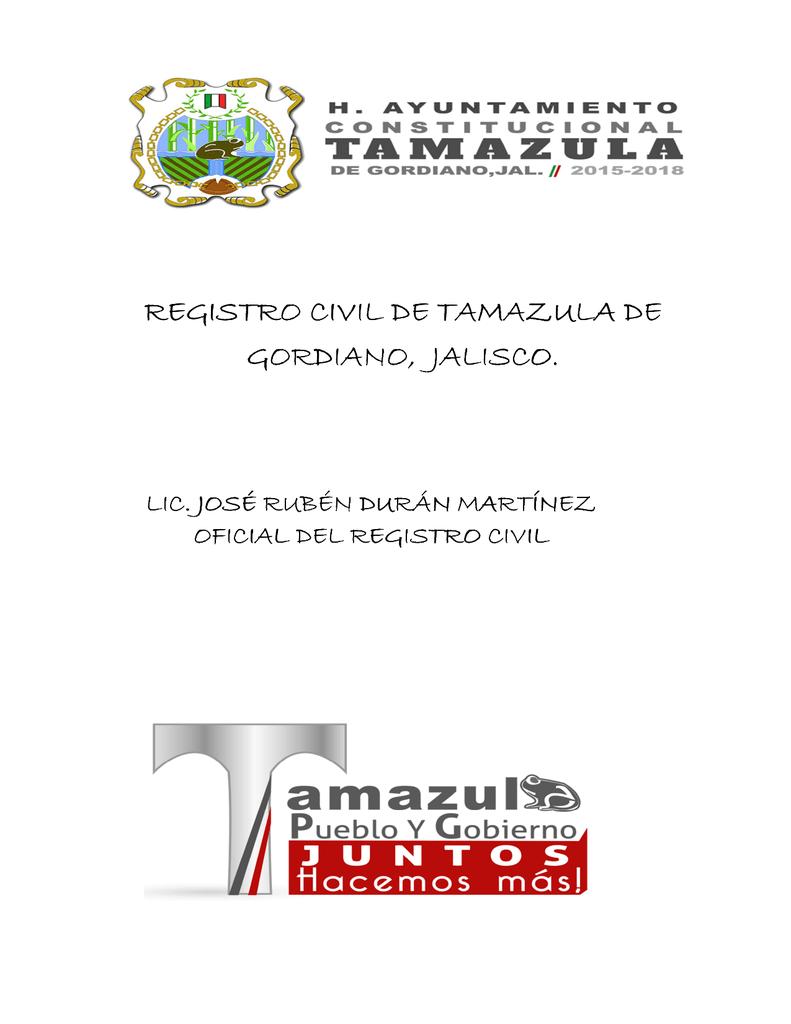 Registro Civil De Tamazula De Gordiano Gordiano Jalisco