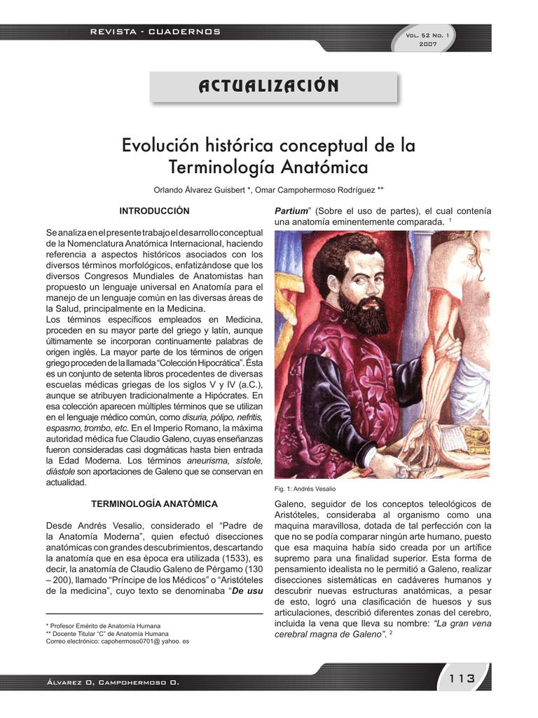 Evolución histórica conceptual de la Terminología Anatómica
