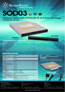 Dispositivo óptico SATA CD/DVD-RW 8X de 9,5mm