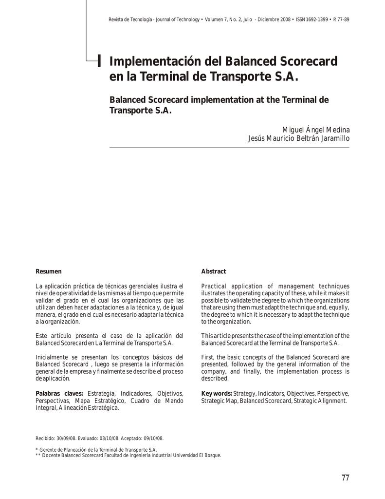 Implementación del Balanced Scorecard en la Terminal de
