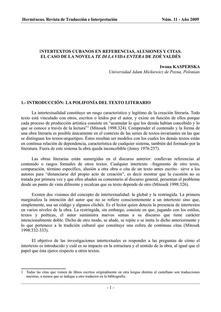 Iwona Kasperska Intertextos Cubanos En Referencias Alusiones Y