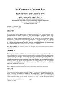Ius Commune y Common Law Ius Commune and Common Law