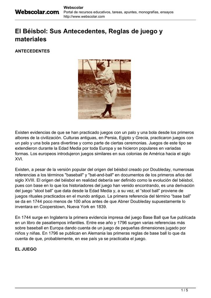 El Beisbol Sus Antecedentes Reglas De Juego Y Materiales