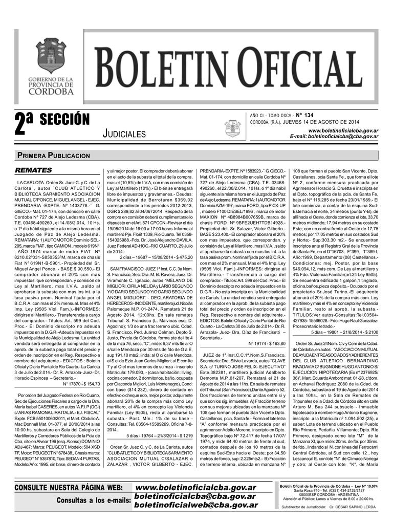 2º Sección - Boletín Oficial - Gobierno de la Provincia de