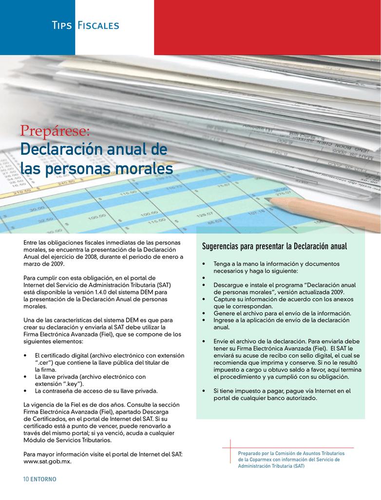 Declaración Anual De Las Personas Morales