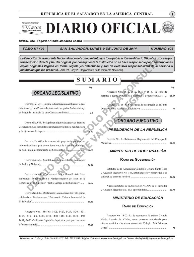Diario Oficial 9 de Junio 2014.indd - Diario Oficial de la República