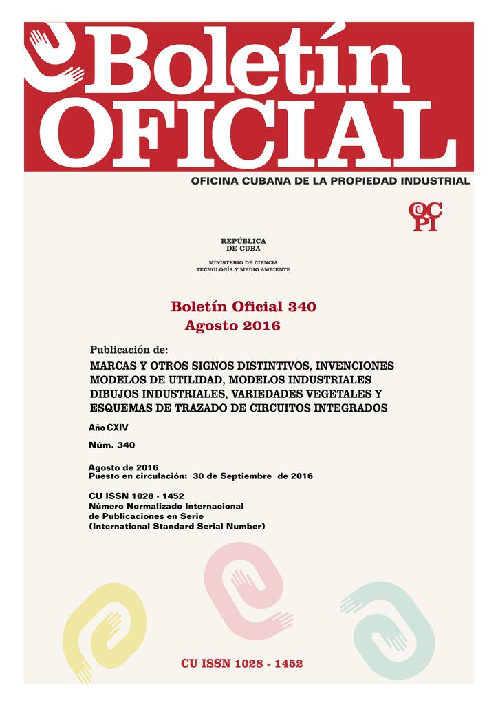 20f78377 Boletín Oficial 340 - Oficina Cubana de la Propiedad Industrial