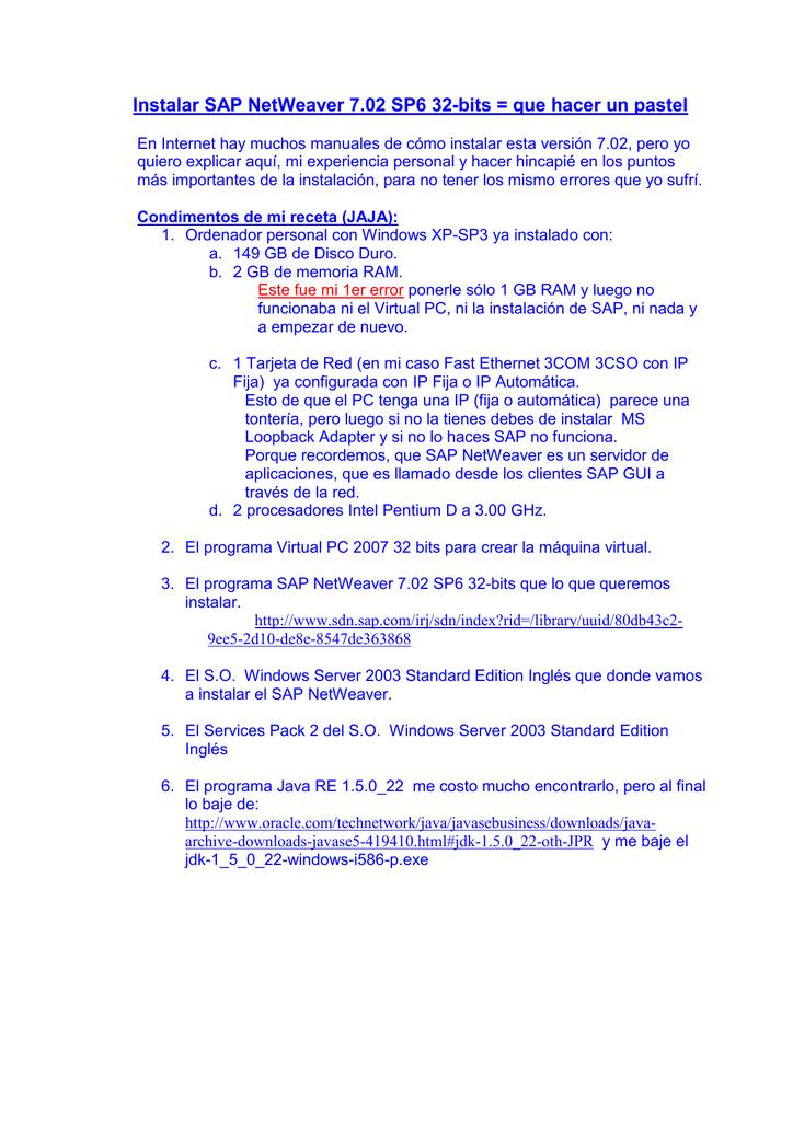 01 Instalar SAP NetWeaver 7 02 SP6 32-bits