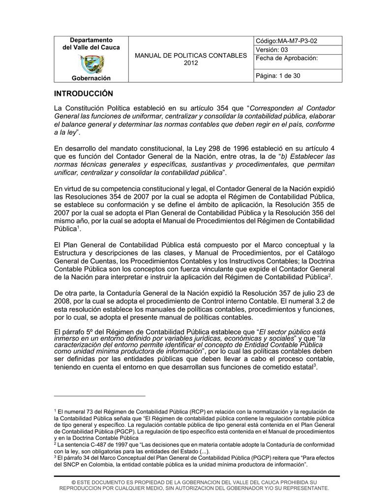 Manual De Politicas Contables V3 Gobernación Del Valle Del