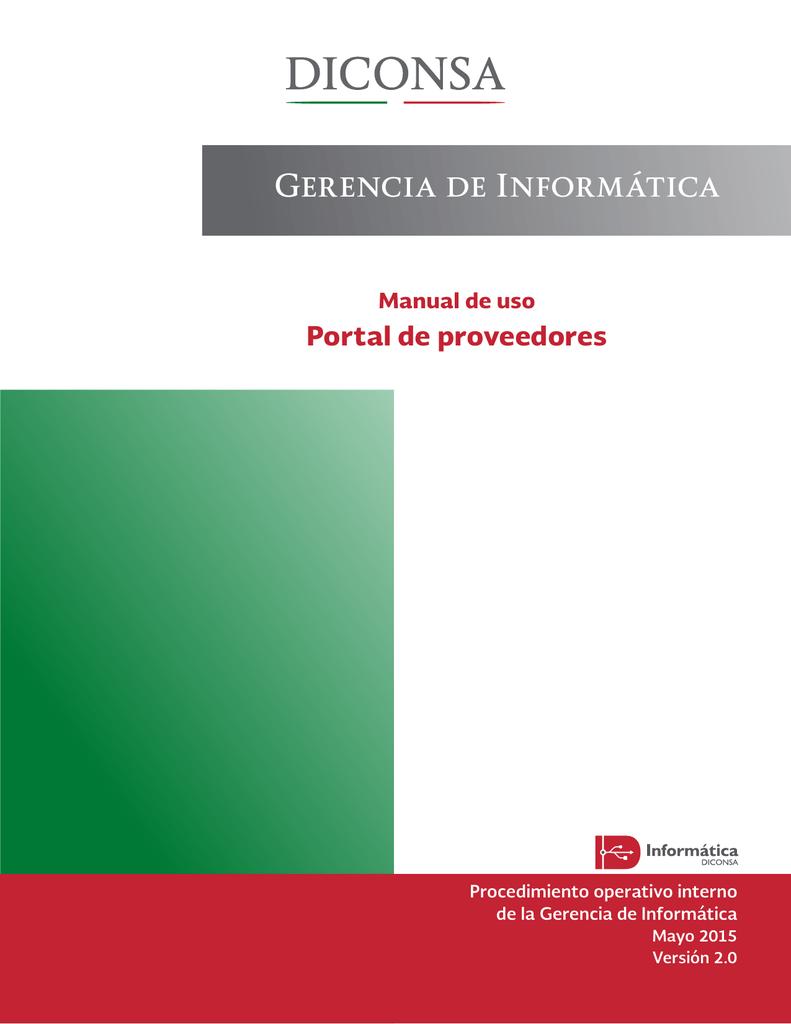 Gerencia de Informática - Portal Proveedores Diconsa