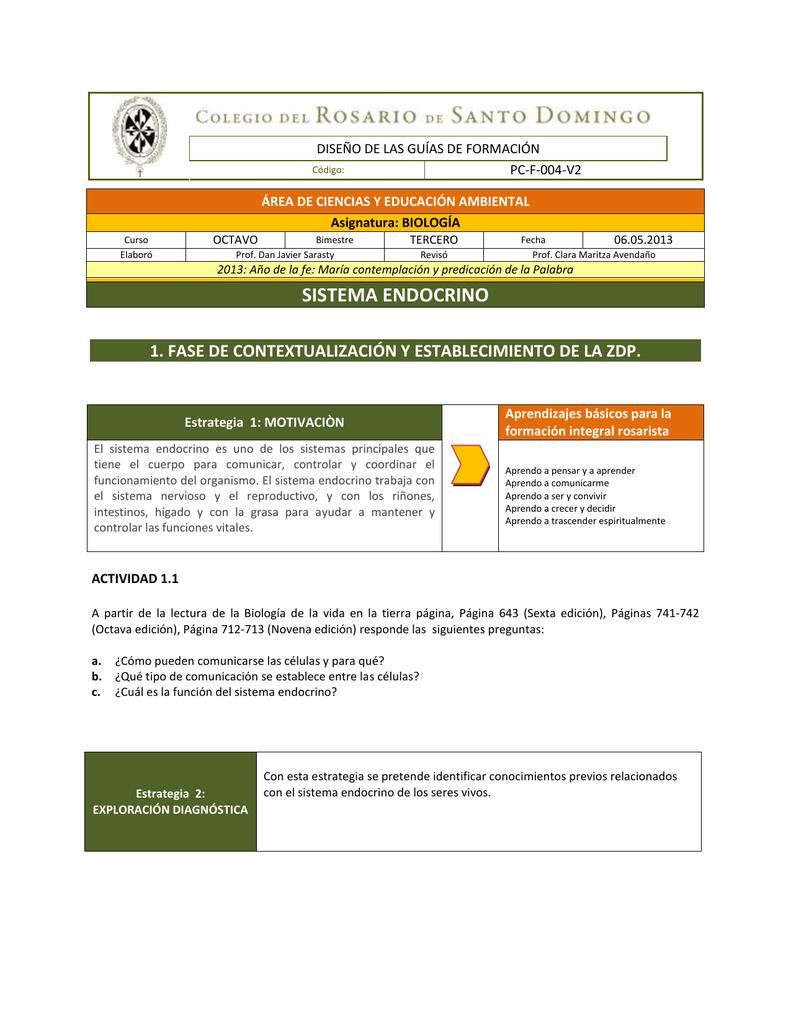 sistema endocrino - Colegio del Rosario Santo Domingo