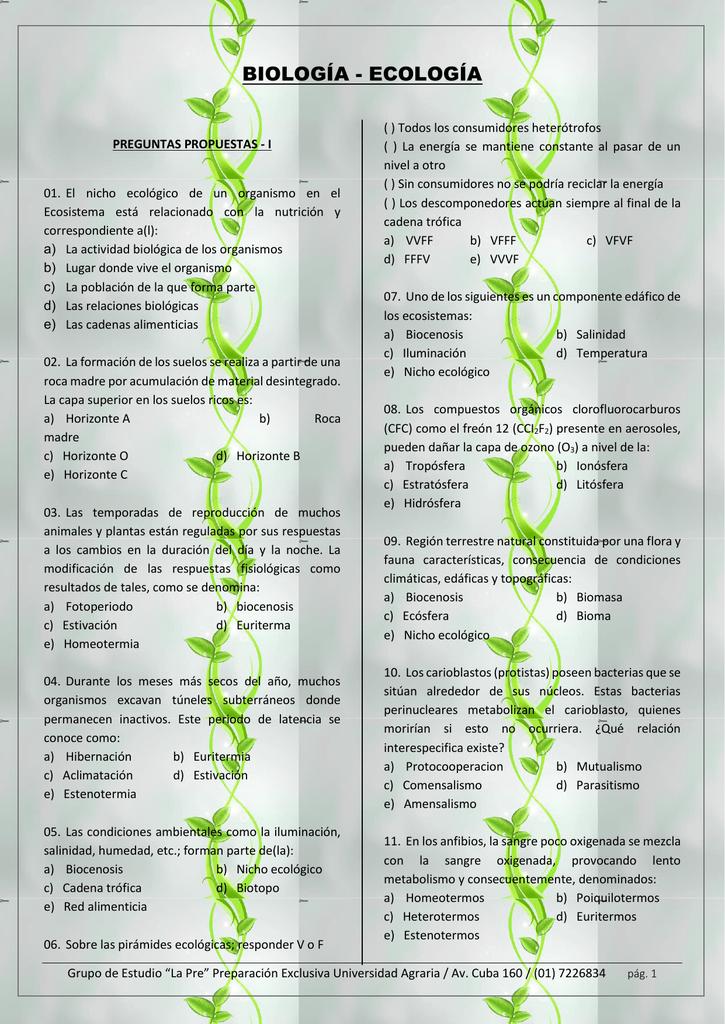 biología - ecología - La Pre Agraria Grupo de estudio