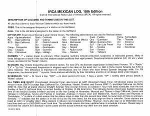 IRCA MEXICAN LOG, 18th Edition