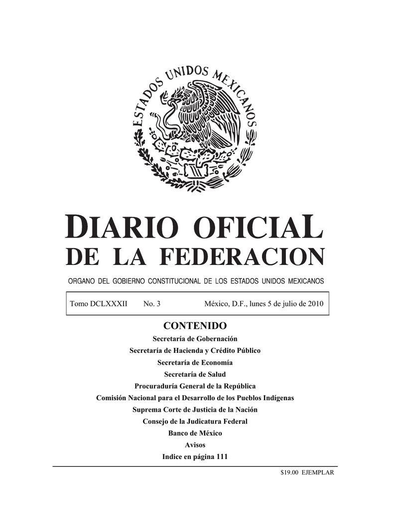 on sale 1f898 edf32 contenido - Diario Oficial de la Federación