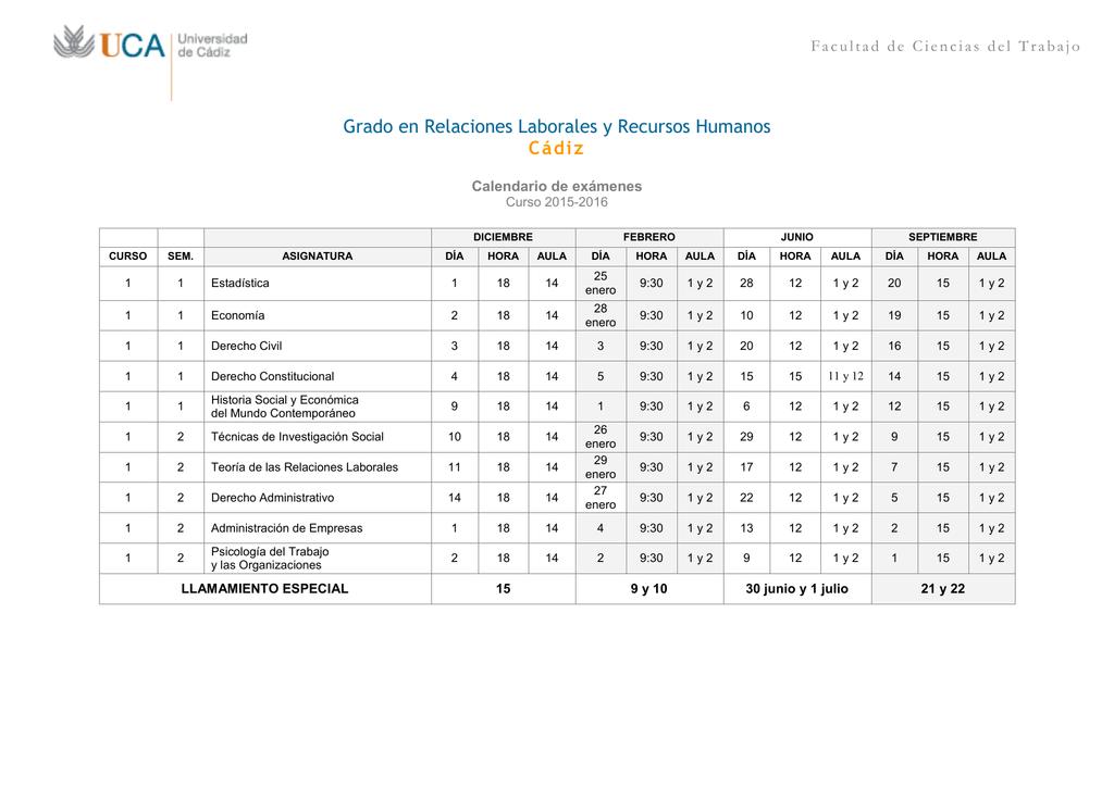 Calendario Examenes Derecho Us.Calendario De Examenes Facultad De Ciencias Del Trabajo