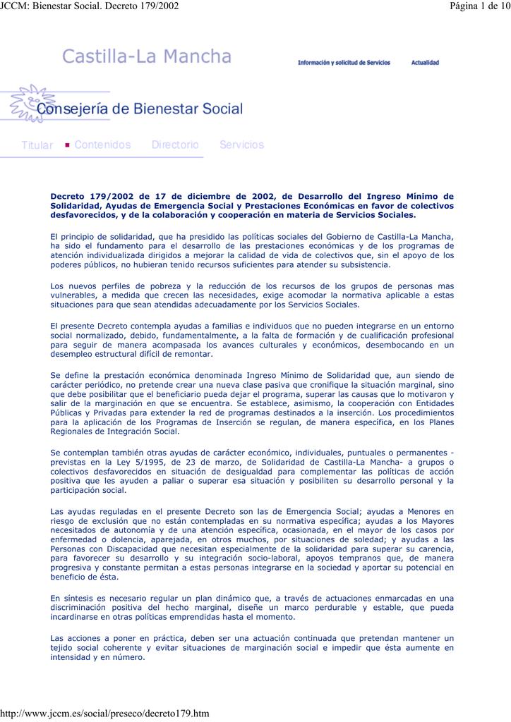 JCCM: Bienestar Social. Decreto 179/2002