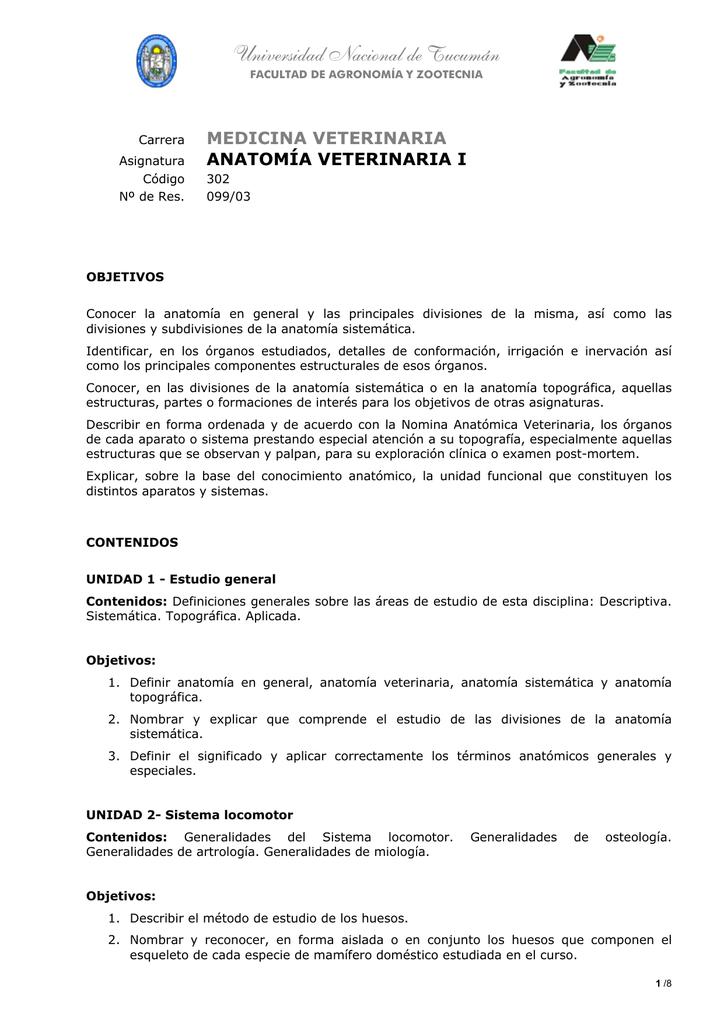 Anatomía Veterinaria I - Facultad de Agronomía y Zootecnia • UNT