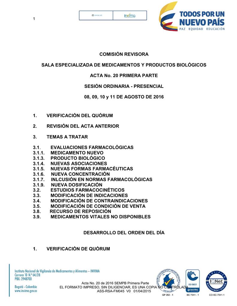 Acta No. 20 de 2016 SEMPB Primera Parte Fecha de