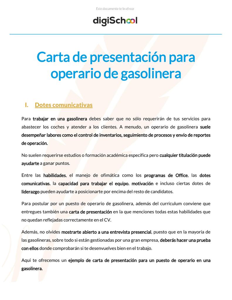 Carta de presentación para operario de gasolinera