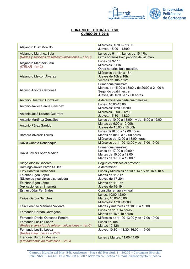 Calendario Etsit.Horario De Tutorias Etsit Curso 2015