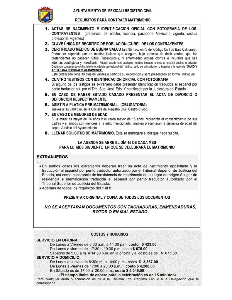 ayuntamiento de mexicali registro civil requisitos para contraer