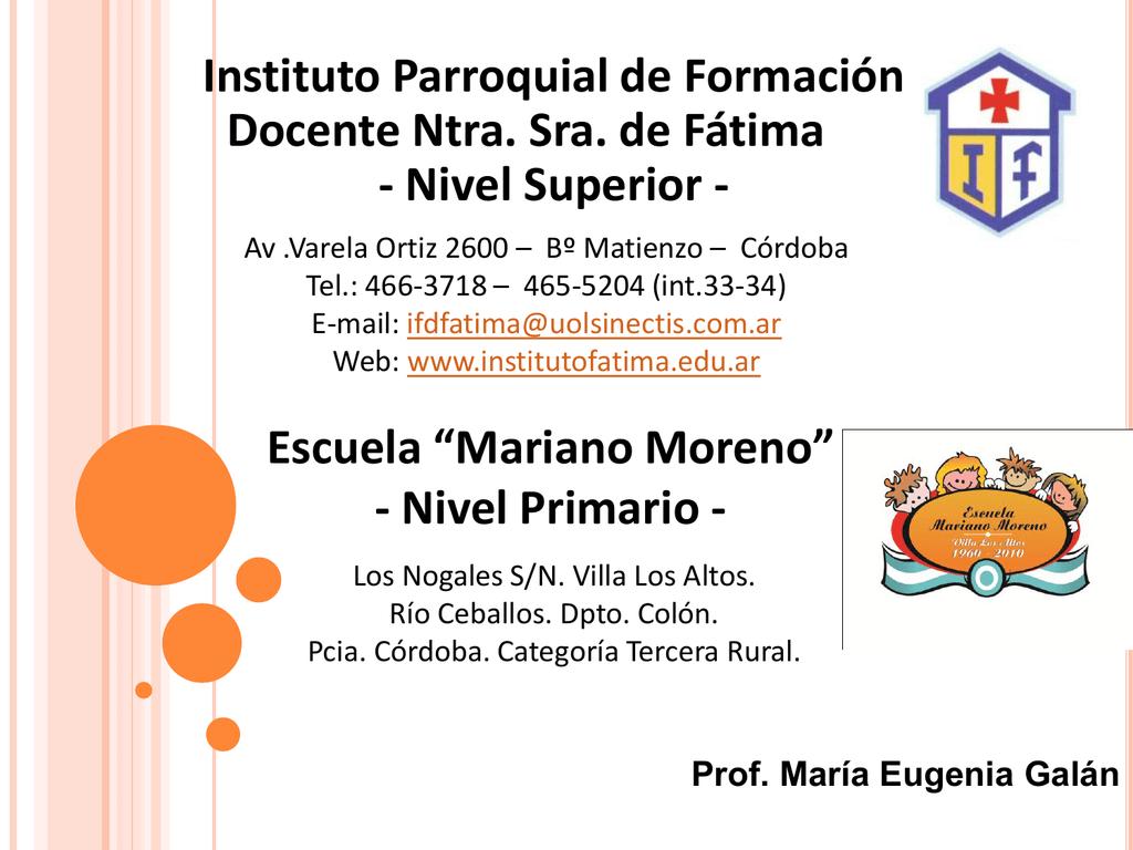 ee23622fe ISFD Nuestra Señora de Fátima Escuela Mariano Moreno