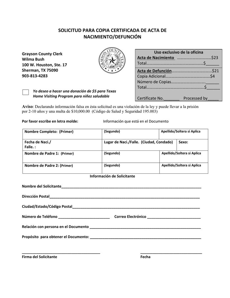 solicitud para copia certificada de acta de nacimiento/defunción