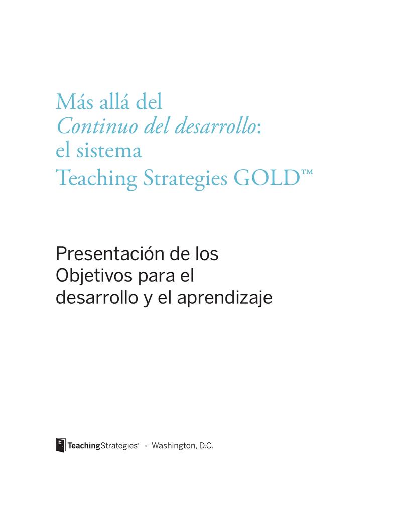 allá del Continuo del desarrollo: el sistema Teaching Strategies GOLD