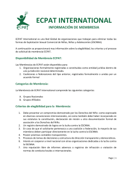 ecpat international información de membresia