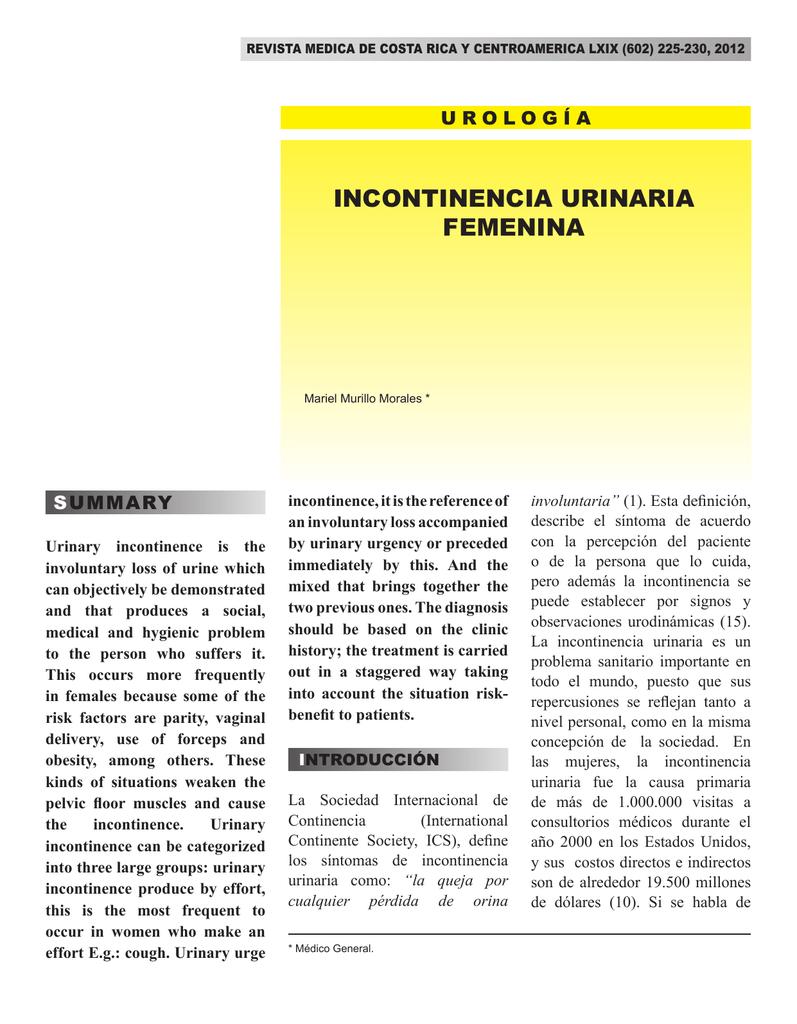 sintomas incontinencia urinaria femenina