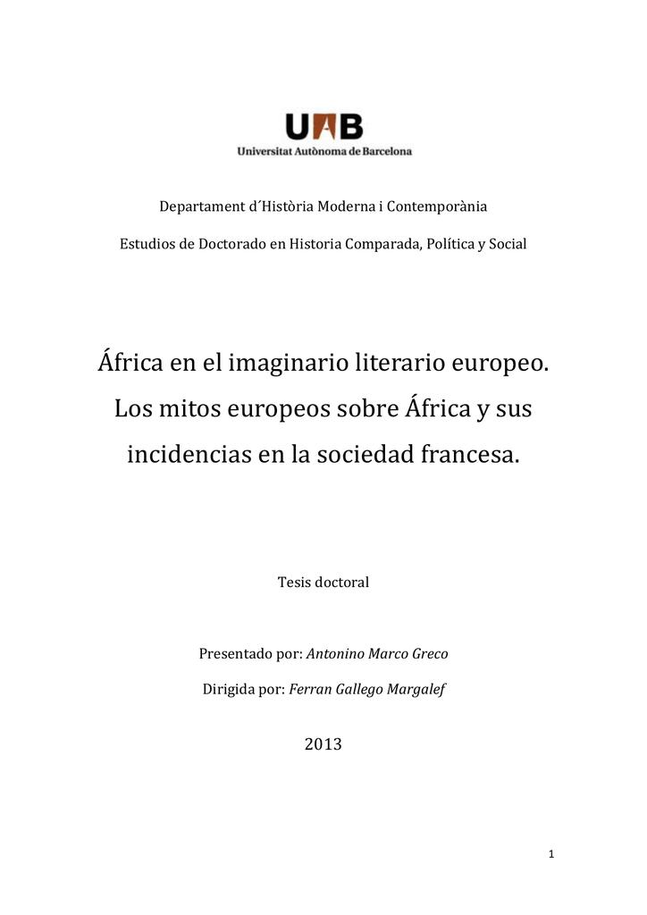 áfrica En El Imaginario Literario Europeo