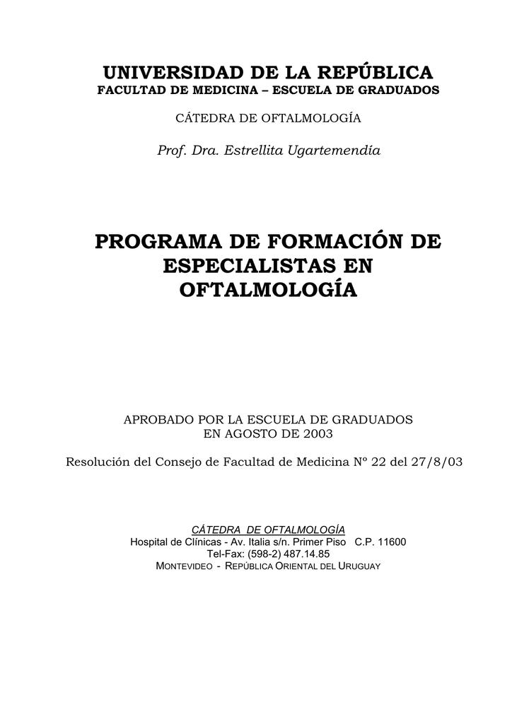Oftalmología - Escuela de Graduados