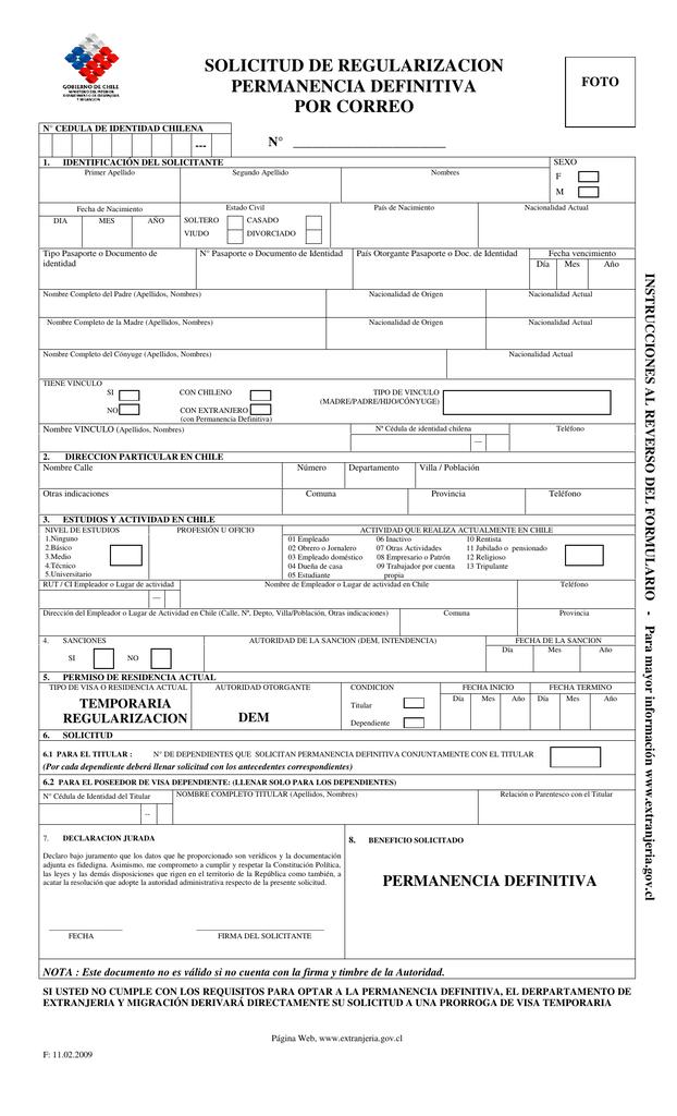solicitud - Departamento de Extranjería y Migración
